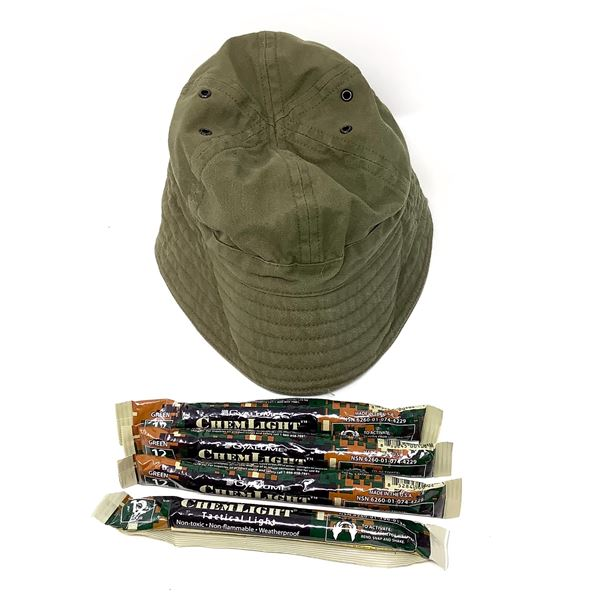 Boonie Hat, Size 7 5/8 and 4 Chem Lights