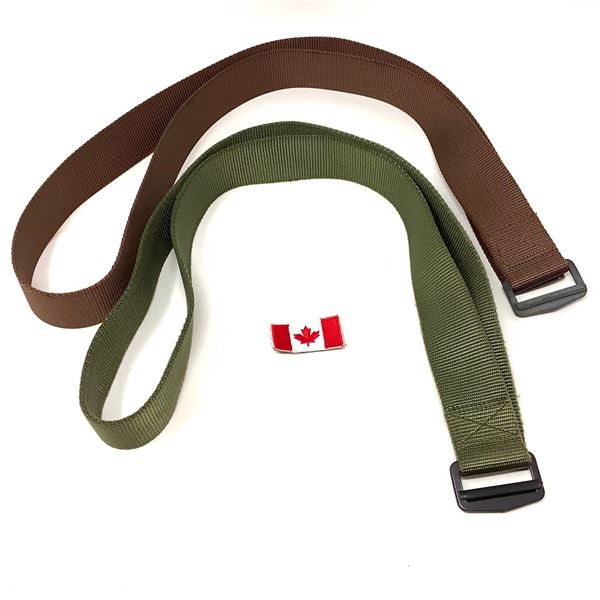 """Combat Belts Up to 52"""", ODG and Brown and Canadian Flag Patch"""