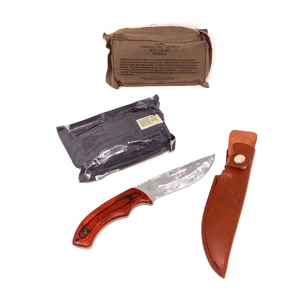 """Field Bandages and ProPac 4"""" Fixed Blade in Leather Sheath"""