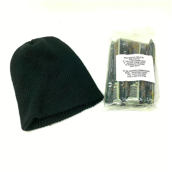 Chem Lights Yellow X 10 and Canadian Army Toque, Black