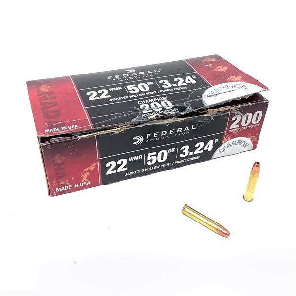 Federal Champion 22 WMR 50 Grain Ammunition, 200 Rounds