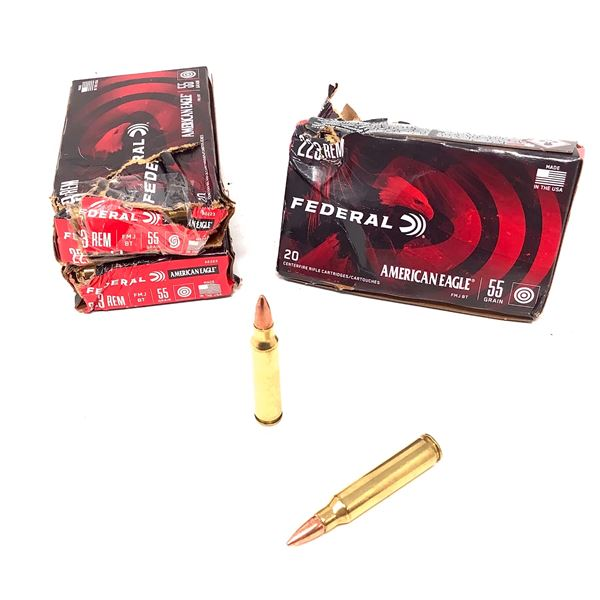 Federal 223 Rem 55 Grain FMJBT Ammunition, 78 Rounds