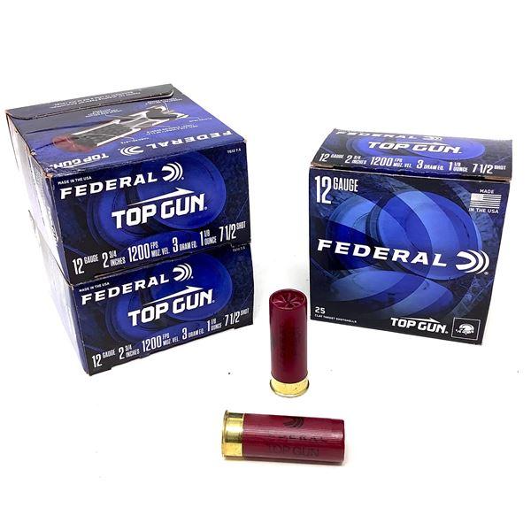 """Federal Top Gun 12 Ga Target 2 3/4"""" #7.5 Ammunition, 75 Rounds"""