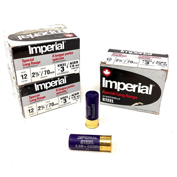 """Imperial Special Long Range Steel 12 Ga 2 3/4"""" #3 Ammunition, 60 Rounds"""