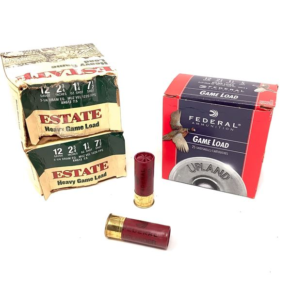 """Estate and Federal 12 Ga 2 3/4"""" # 7.5 Ammunition, 74 Rounds"""
