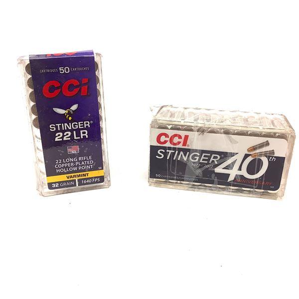 CCI Stinger 22 LR 32 Grain CPHP Ammunition, 95 Rounds