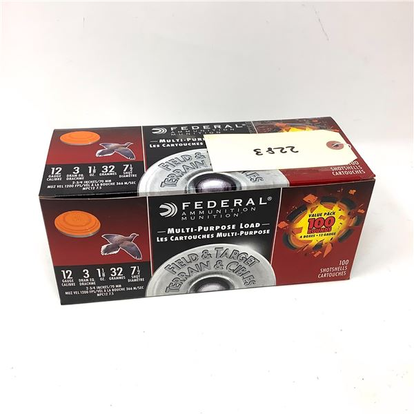 "Federal Multi Purpose 12 Ga 2 3/4"" #7.5 Ammunition, 100 Rounds"