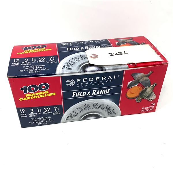 """Federal Field and Range 12 Ga 2 3/4"""" # 7.5 Ammunition, 100 Rounds"""