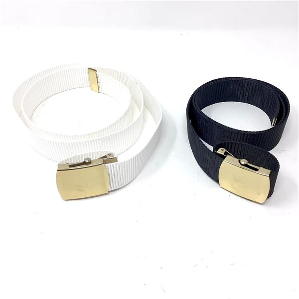 """Canadian Military Duty Belt, Up to 42"""", Blk and Canadian Navy Dress Belt, White, Up to 42"""""""
