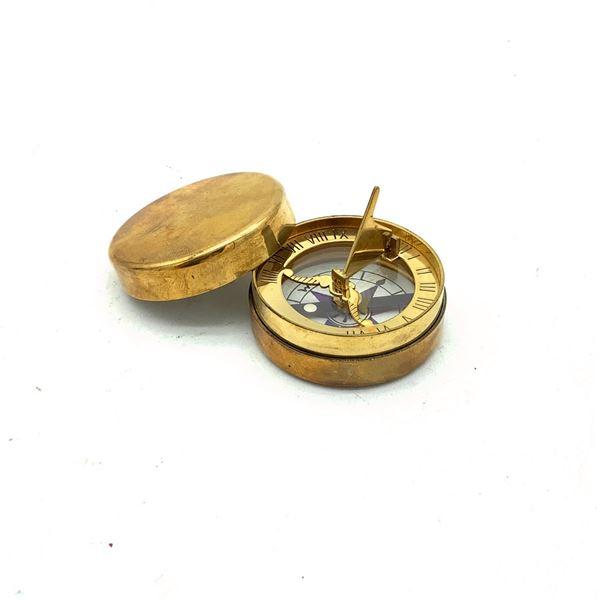 Compass/ Sundial, In Brass Case, New
