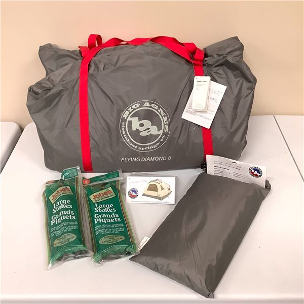 Big Agnes 8 Person Tent with Ground Cover and Tent Pegs