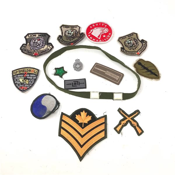 Helmet Band and a Variety of Patches and Pins X 13