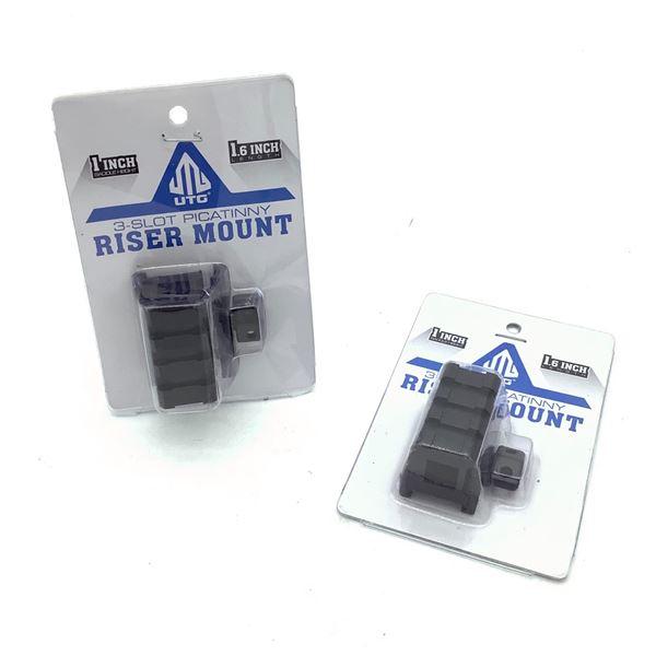 """UTG 1"""" 3 Slot Picatinny Riser Mount X 2"""