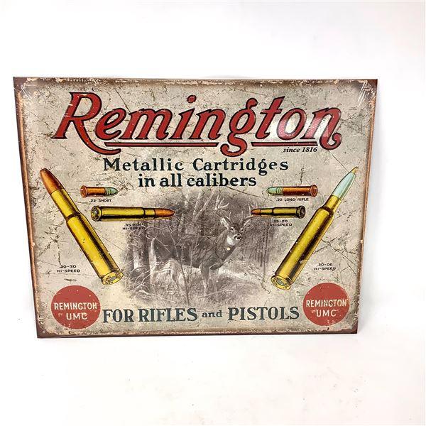 """Remington Tin Sign, 12"""" X 16"""", New"""
