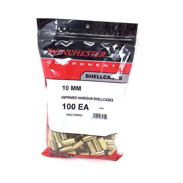 Winchester 10mm Unprimed Handgun Shell Case, 100 Count, New