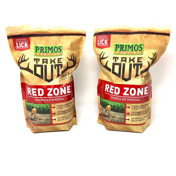 2 x Primos Take Out Red Zone Granular Mineral Lick (4.5 Lb), New