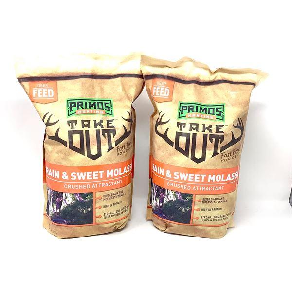 2 x Primos Deer Feed, Grain & Sweet Molasses Crushed Attractant, 5 Lb, New