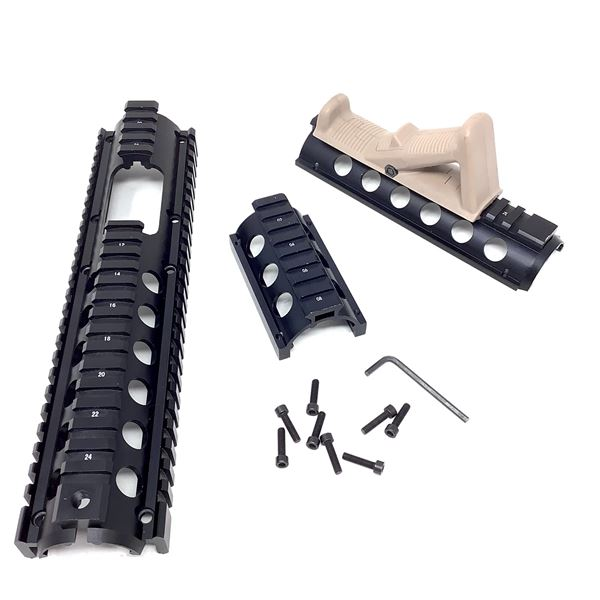 AR15 Handguards/Rail Sections with Tan Angled Fore-Grip