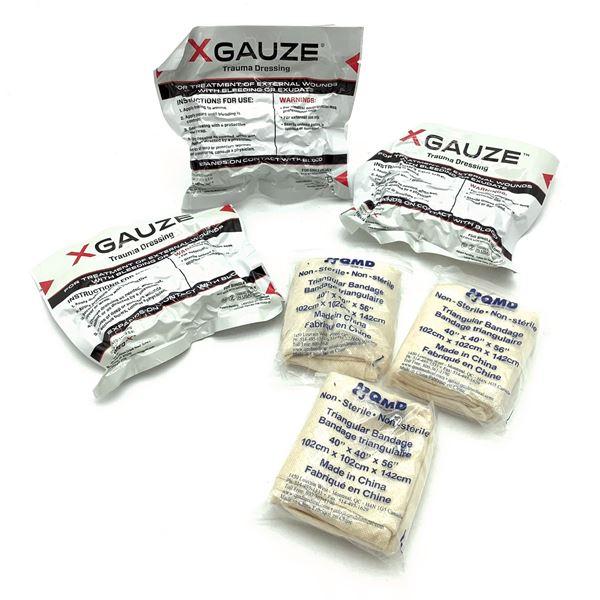 X Gauze Trauma Dressing X 3 and Triangular Bandage X 3