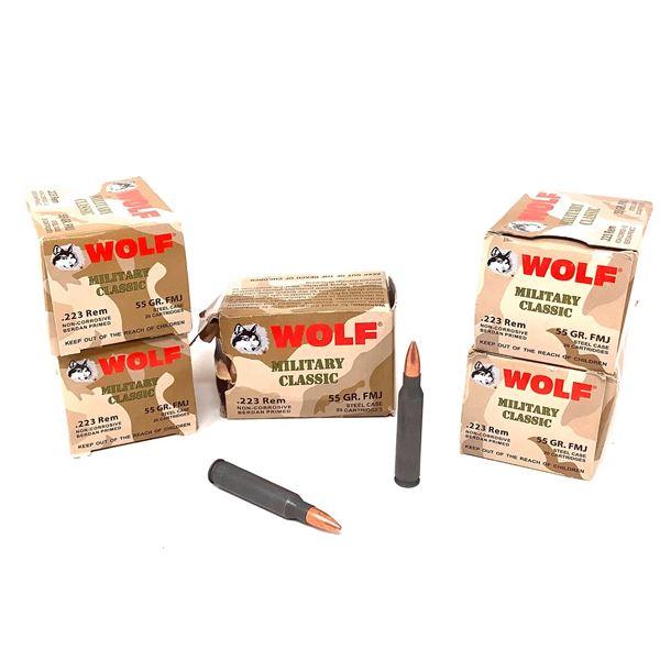 Wolf 223 Rem Ammunition, 100 Rounds