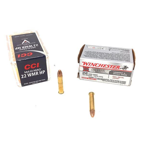 Assorted 22 WMR Ammunition, 100 Rounds