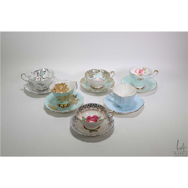 Six china cups and saucers including Paragon, Foley, Queen Anne and Sutherland. Note: Not Available
