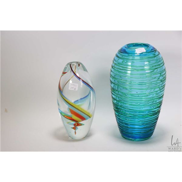 """Two pieces of art glass including 9"""" swirled coloured vase and a green and blue 11"""" vase"""