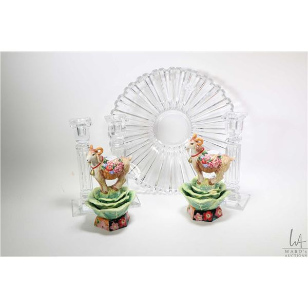 """Selection of candlestick including a pair of Fitz & Floyd """"Country Chic"""" painted porcelain goats, th"""