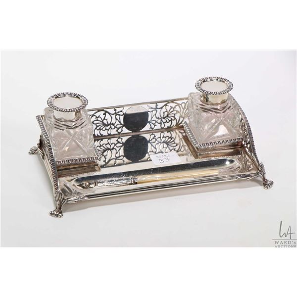 English sterling silver pierced edge pen tray with double crystal ink wells with sterling tops and a