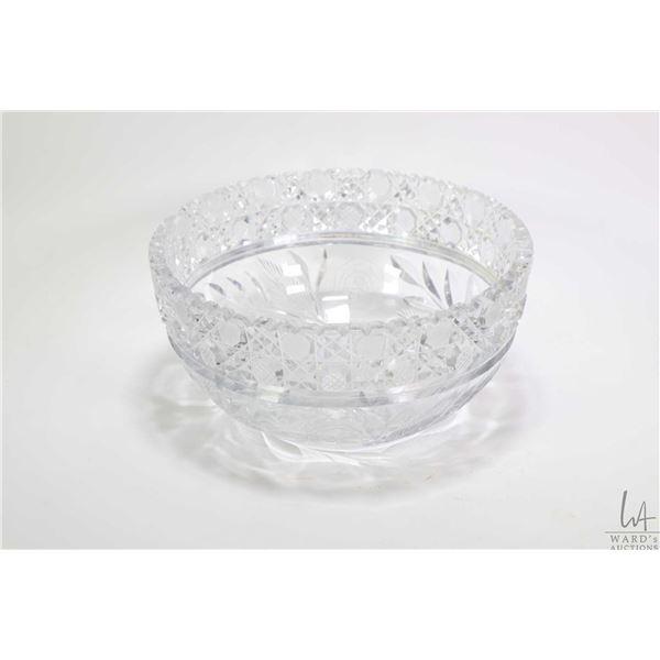 "American hand cut American brilliant glass bowl 9"" in diameter"