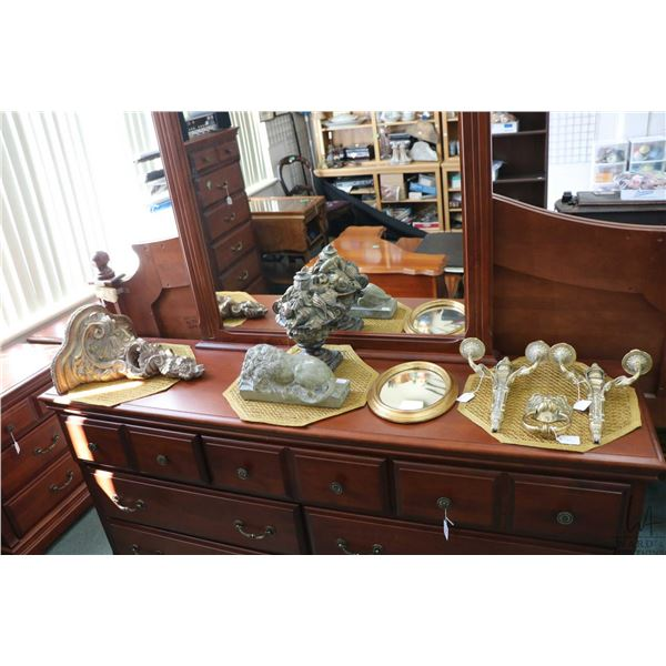 """Selection of decor items including a pair of wall mount brass double candlesticks, a 19"""" ornate wall"""