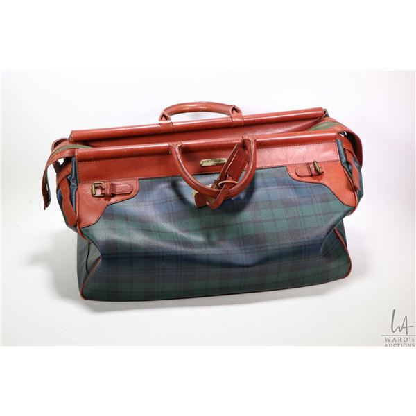 Vintage large sized Ralph Lauren leather and plaid canvas travel bag