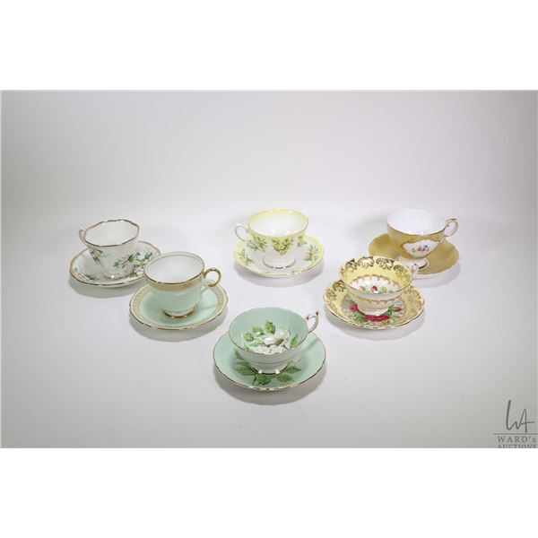 Six china cups and saucers including Paragon, Foley, Royal Albert etc. Note: Not Available For Shipp
