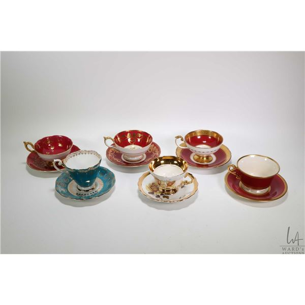 Six china cups and saucers including Aynsley, Coalport, Rosina , Royal Standard and Syracuse China.