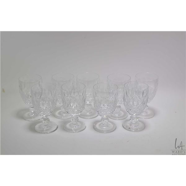 """Nine signed Waterford crystal """"Colleen"""" short stem water goblets. Note: Not Available For Shipping."""