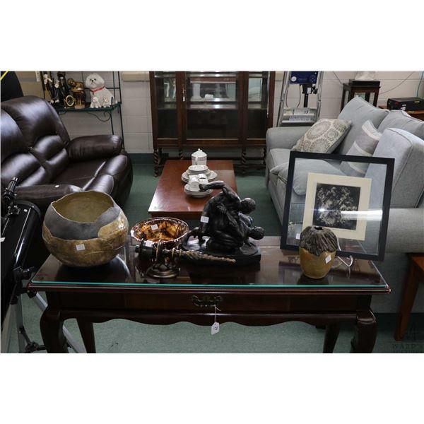 "Selection of decor items including plaster wrestlers, framed artist proof print titled ""Gesso Suite"