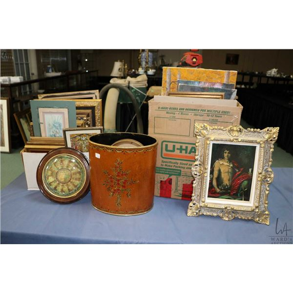 Selection of wall art and frames, mostly gilt with religious iconography content. Note: Not Availabl