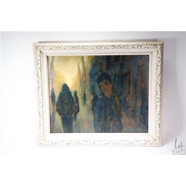 """Framed original oil on canvas painting of dark street figures signed by artist Michael Burns, 15"""" X"""