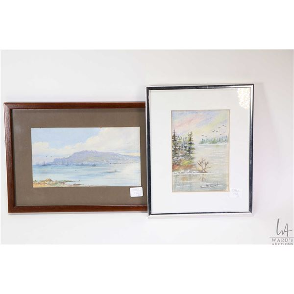"""Two small framed original watercolour paintings including one labelled on verso """" Portland Harbour,"""