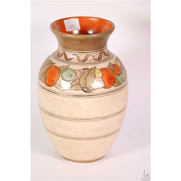 "Vintage Charlotte Rhead for Crown Ducal ""Fruit Border 5802"" pottery vase circa 1938"