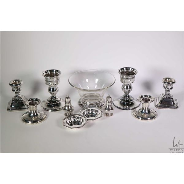 """Tray lot of sterling silver including a pair British hallmarked sterling candlesticks 3"""" in height,"""