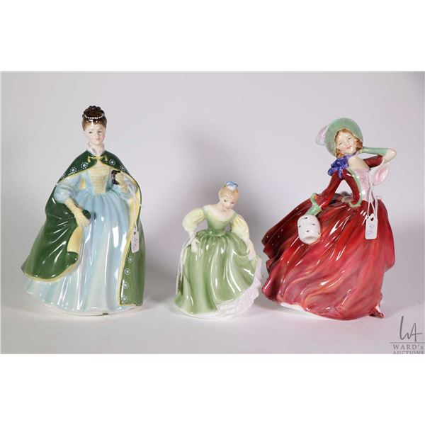Three Royal Doulton figurines including Autumn Breezes HN1434, Preimiere HN2343 and smaller sized Fa