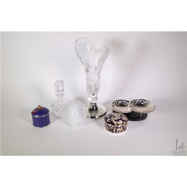 Tray lot of collectibles including etched crystal flower vase with sterling silver base marked 813H