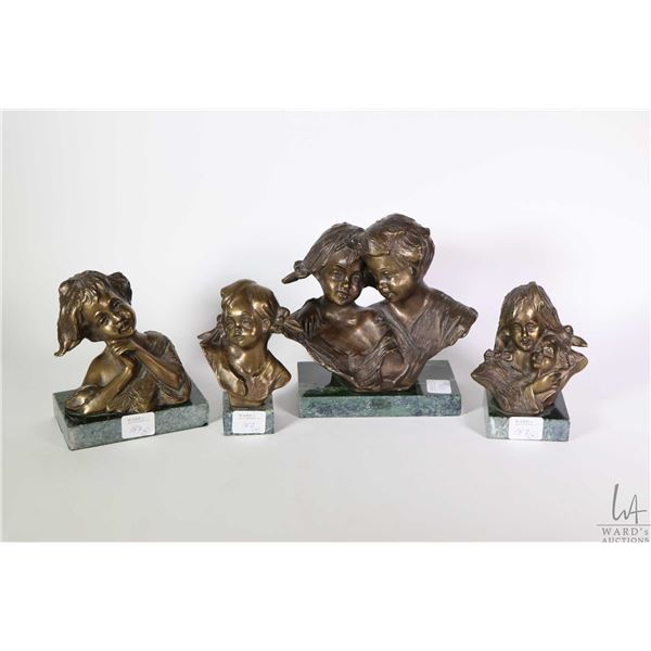 """Four small bronze busts on marble bases including 6"""" hugging boy and girl, all signed, see photos"""