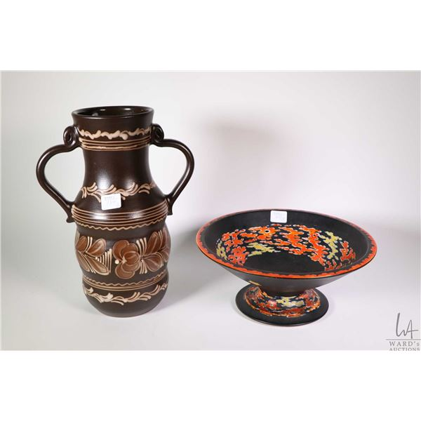 """Vintage Kinkozan Pottery footed dish and a Hungarian MHV double handled pottery vessel 11"""" in height"""