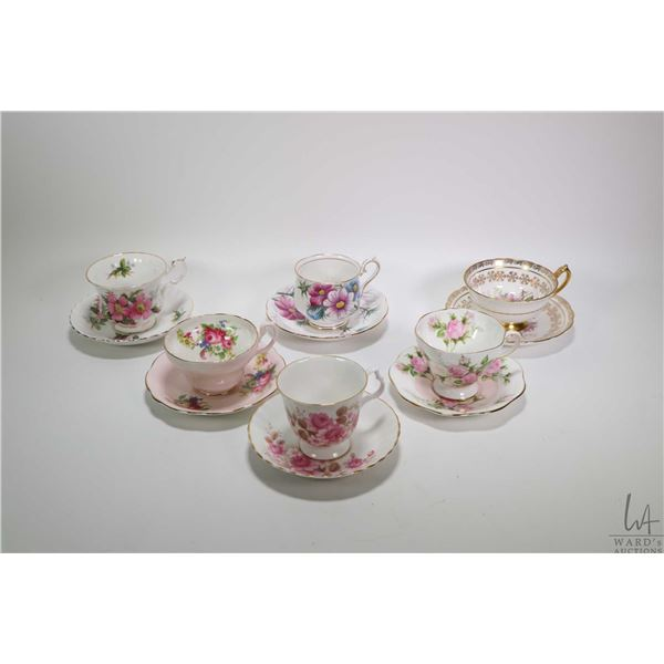 Six china cups and saucers including Paragon, Foley, Royal Albert and Bluebird. Note: Not Available
