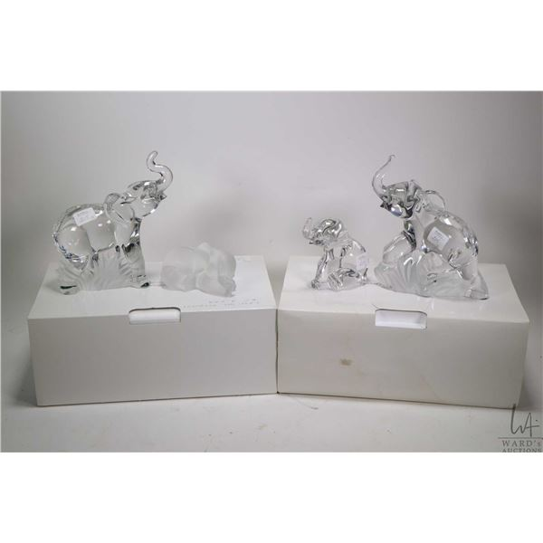 """Two crystal table lamps with shades plus four Lenox fine crystal elephants including two 7"""" in heigh"""