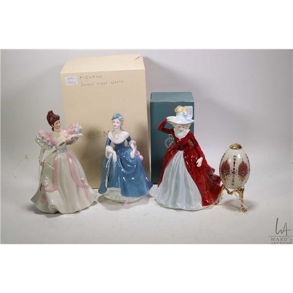 Three porcelain figurines including Coalport Ladies of Fashion Margaret, Ladies of fashion Regina, L