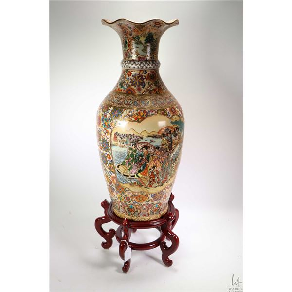 """Tall handpainted Satsuma style floor vase 24"""" in height plus wooden plinth. Note: Not Available For"""