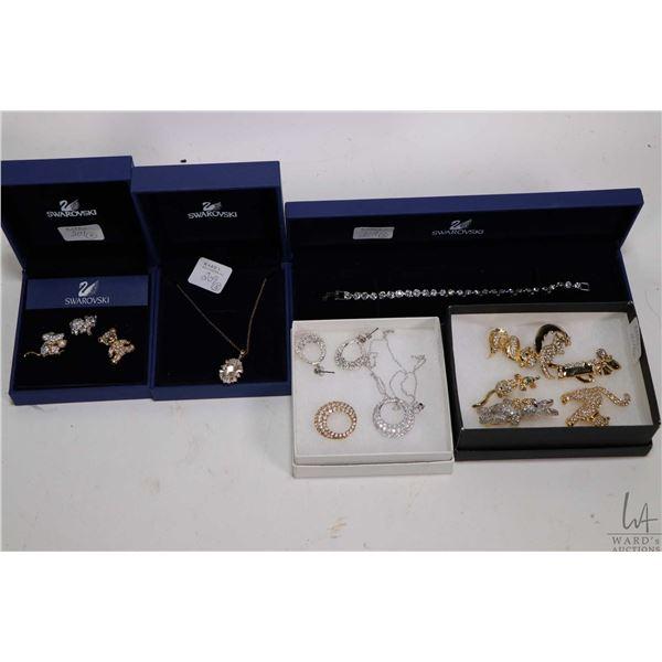 "Selection of quality costume jewellery including signed Swarovski crystal bracelet 7"",  a sterling s"